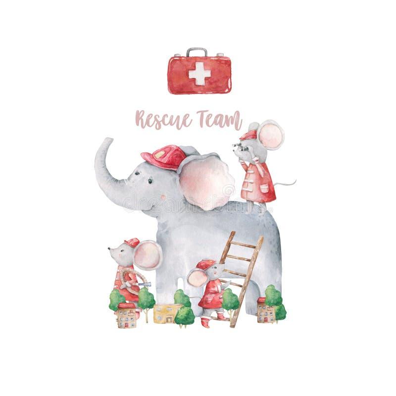Mão bonita e pequena do elefante animal do safari bonito do bebê ilustração tirada da aquarela dos mouses no fundo branco Bonito  ilustração stock
