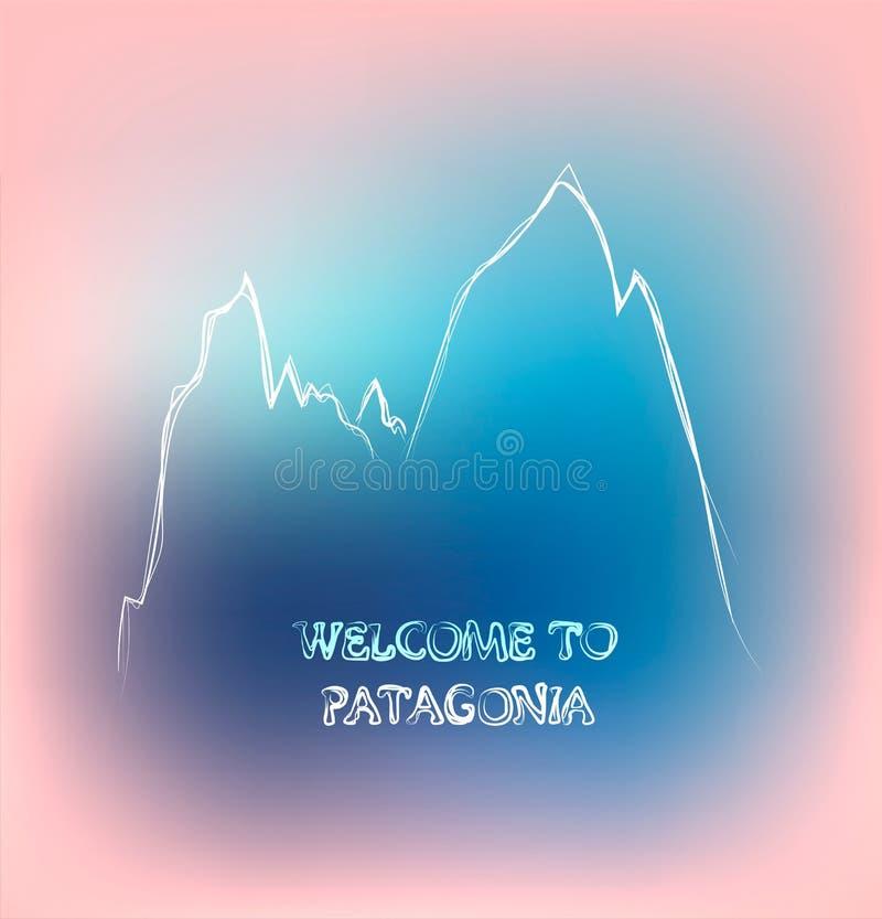 Mão bonita esboço tirado da montagem Fitz Roy e da boa vinda do texto ao Patagonia, ilustração do vetor ilustração do vetor