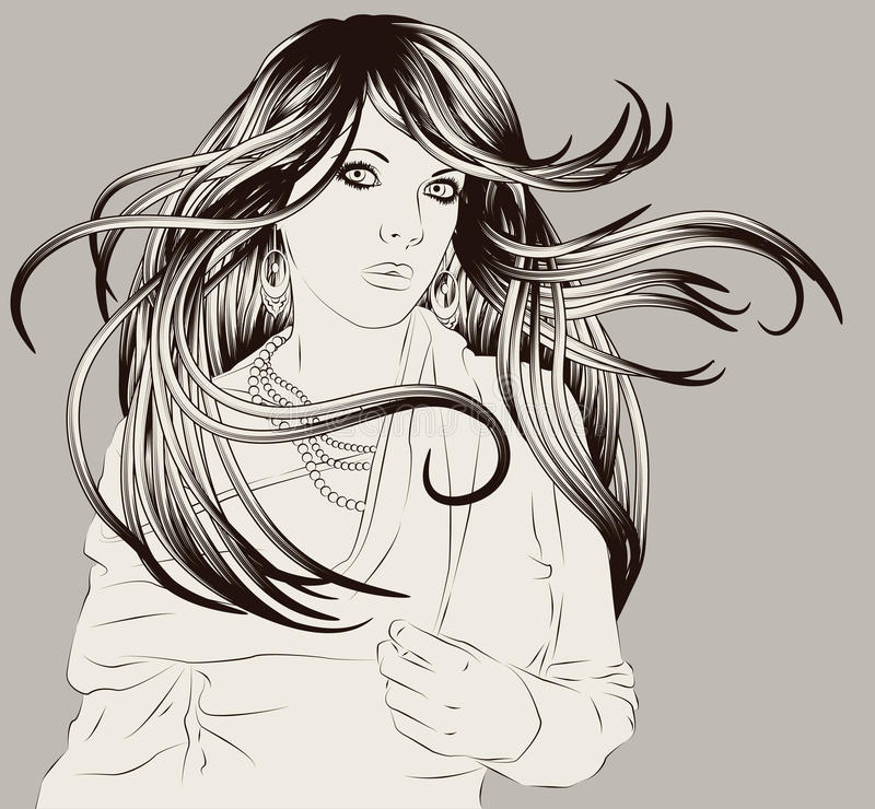 Mão bonita ilustração desenhada da forma da mulher ilustração royalty free