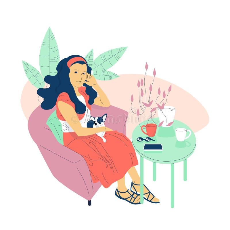 Mão bonita a menina lisa tirada do estilo com cabelo longo está sentando-se no café com um cão pequeno em seu regaço ilustração royalty free