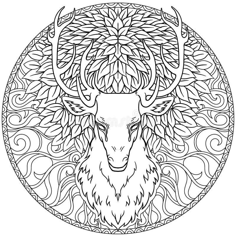 Mão bonita os cervos tribais tirados do estilo dirigem sobre a mandala ornamentado ilustração royalty free