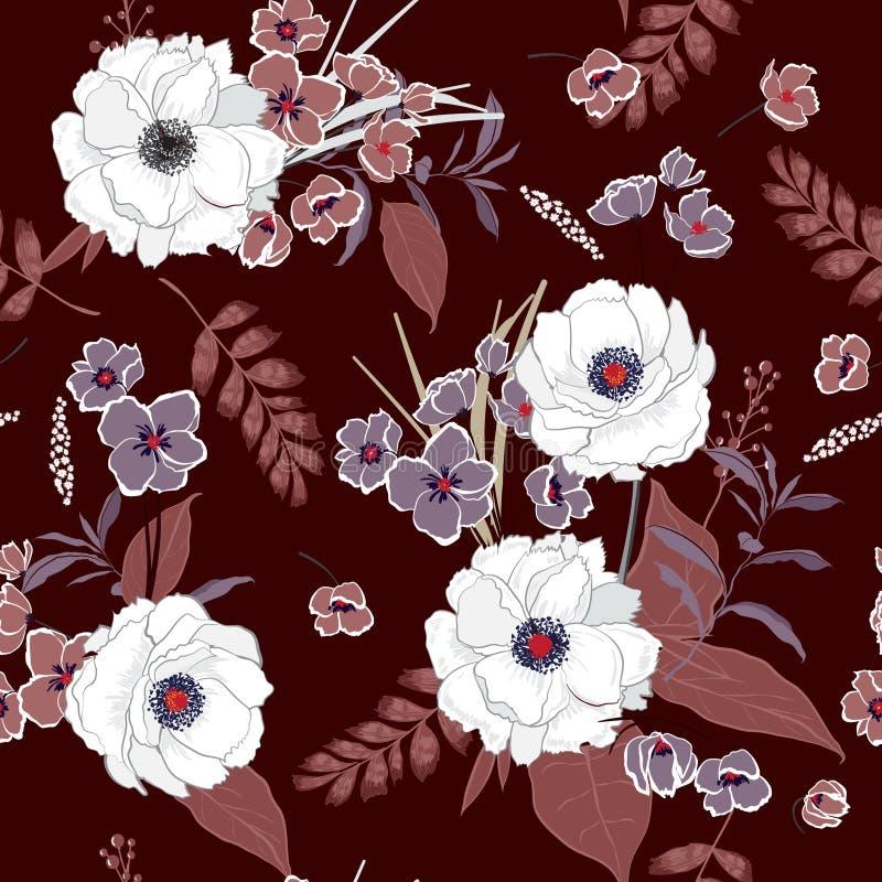 Mão bonita que tira o jardim de florescência do teste padrão sem emenda floral ilustração royalty free