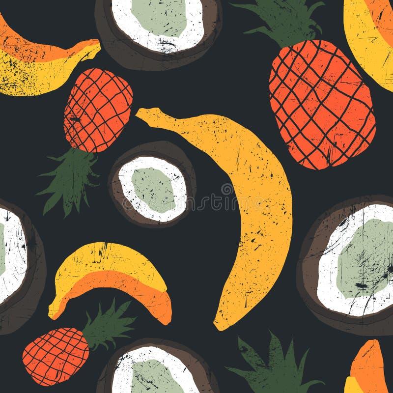 Mão bonita teste padrão tirado com bananas, cocos, abacaxis Teste padrão floral sem emenda, fundo do verão Textura de Grunge ilustração royalty free