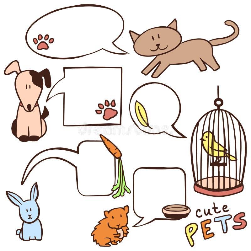 Mão bonito animais de estimação e bolhas tirados do discurso ilustração do vetor