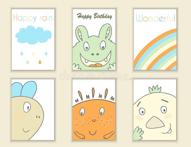 Mão bonito aniversário tirado da garatuja, partido, cartões da festa do bebê, folhetos, convites com monstro, arco-íris, nuvem, c ilustração royalty free