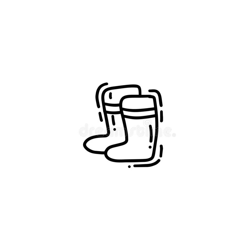 Mão bonito cartão tirado da garatuja do monoline, cartão, tampa, bandeira com as botas de borracha de jardinagem Cartaz engraçado ilustração royalty free