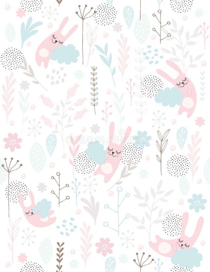 Mão bonito coelhos pequenos tirados do sono, teste padrão do vetor Coelhos cor-de-rosa que dormem nas nuvens azuis Flores cor-de- ilustração stock