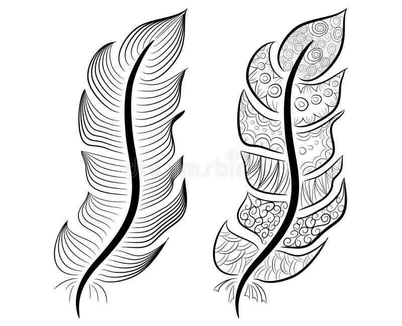 Mão bonito coleção tirada da pena no estilo escandinavo ilustração do vetor