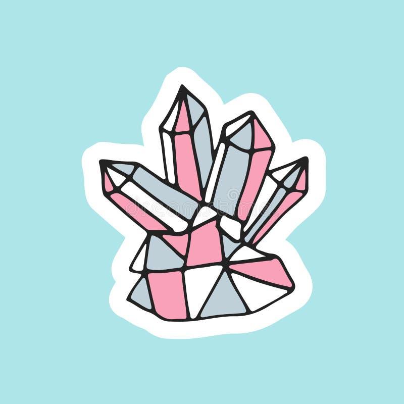 Mão bonito cristal mágico tirado no estilo do remendo Grande projeto do cristal de rocha para o bordado, a etiqueta ou o pino ilustração royalty free