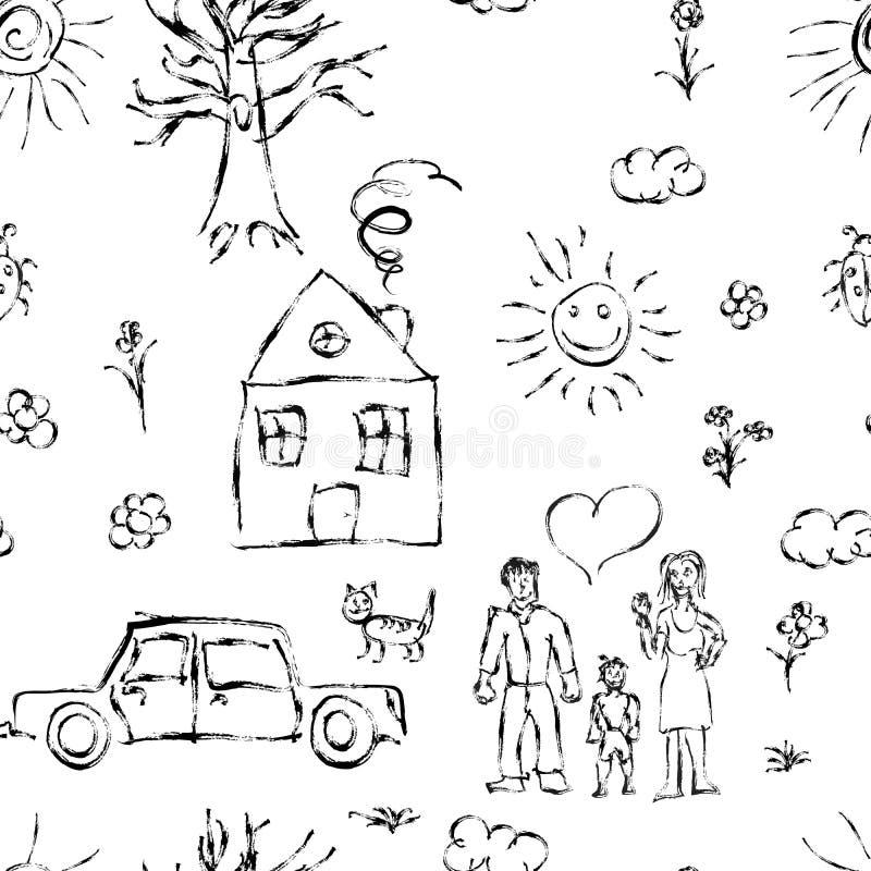 A mão bonito da criança preta tirada objeta como a família, as flores, a casa, a grama, a árvore, o sol e o gato, teste padrão se ilustração stock