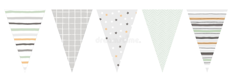 Mão bonito estamenha tirada do vetor do projeto Bandeiras da forma do triângulo ilustração do vetor