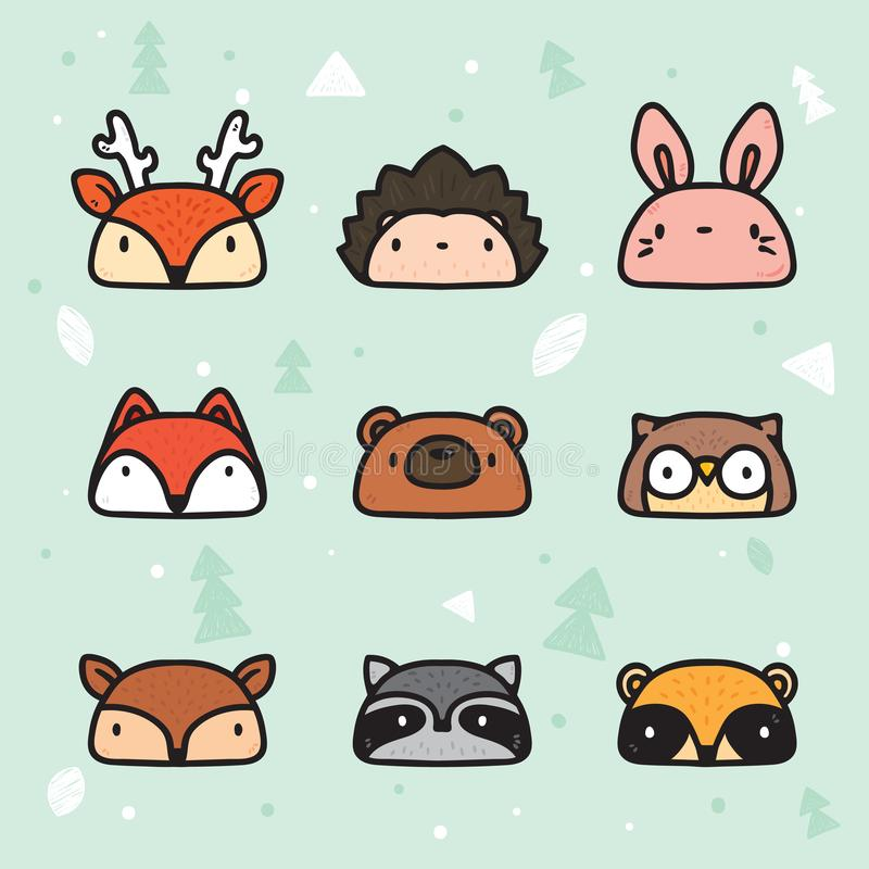 M?o bonito Forest Animal Faces Collection tirado ilustração royalty free