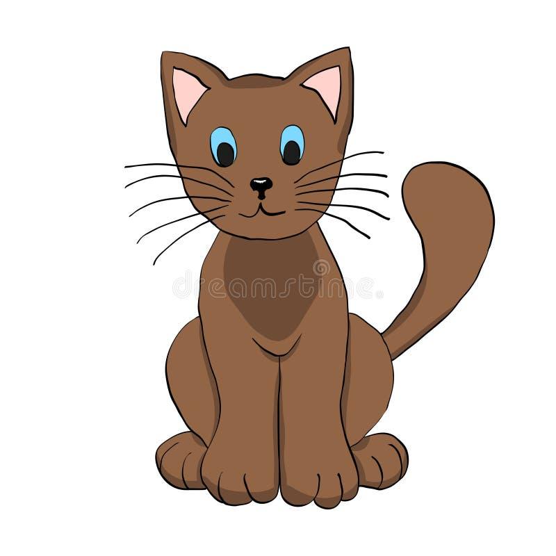 Mão bonito gato tirado de Brown Ilustração do vetor ilustração do vetor
