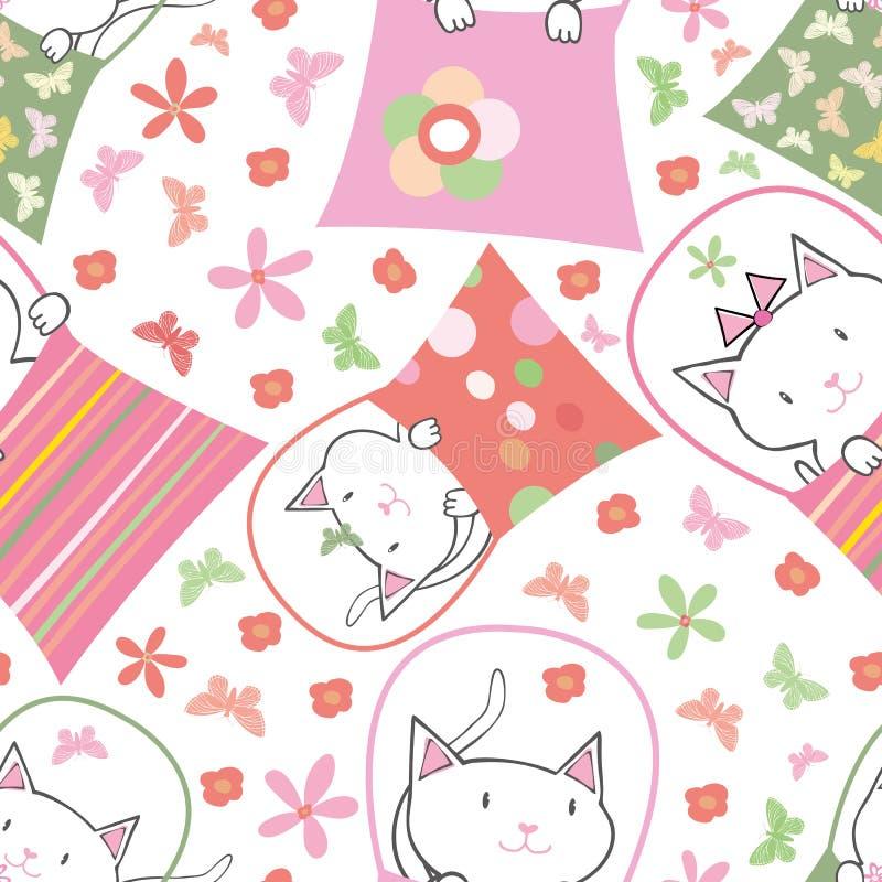 Mão bonito gatos tirados em umas bolsas no projeto multicolorido do divertimento com flores e borboletas Teste padrão sem emenda  ilustração do vetor