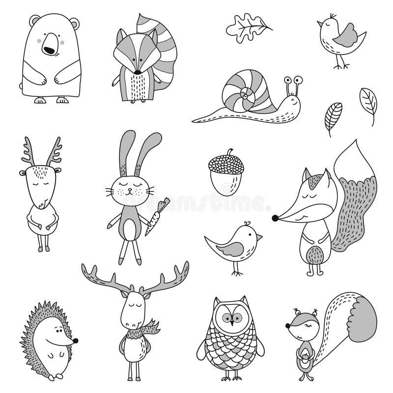 Mão bonito ilustrações tiradas do caráter da garatuja ilustração royalty free