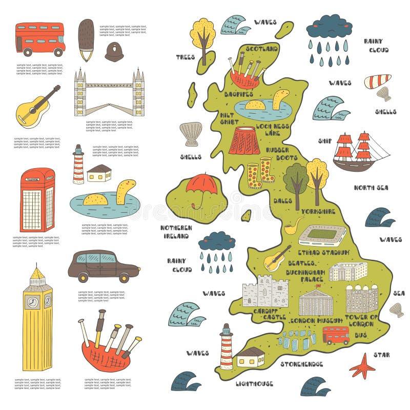 Mão bonito mapa tirado da garatuja de Inglaterra ilustração do vetor