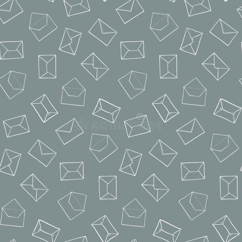Mão bonito o esboço tirado envolve o teste padrão Textura sem emenda do correio da estação de correios ilustração royalty free