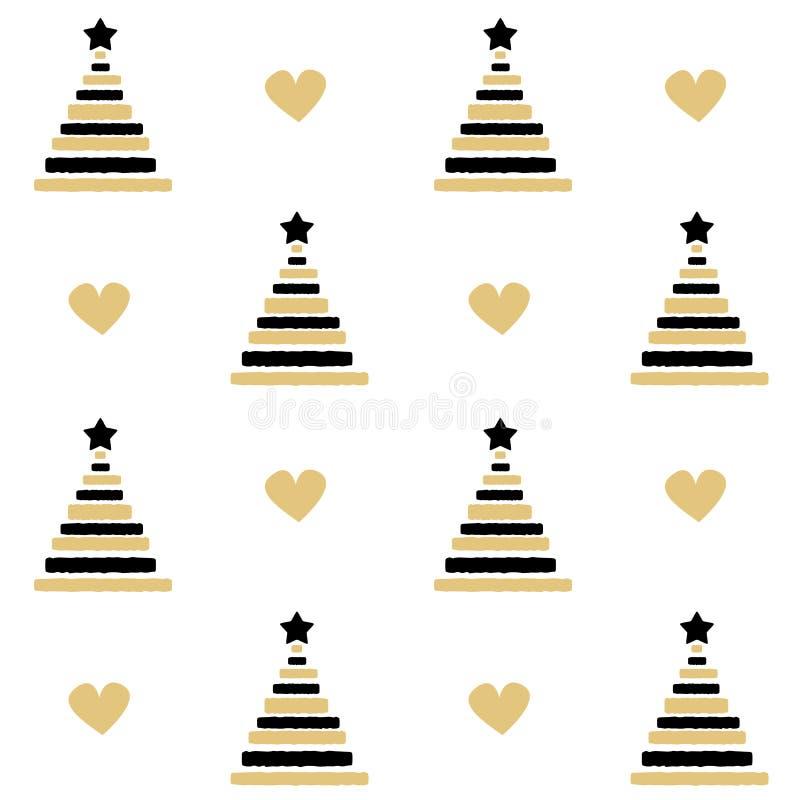 Mão bonito o preto tirado e o vetor sem emenda das árvores de Natal do ouro modelam a ilustração do fundo ilustração royalty free