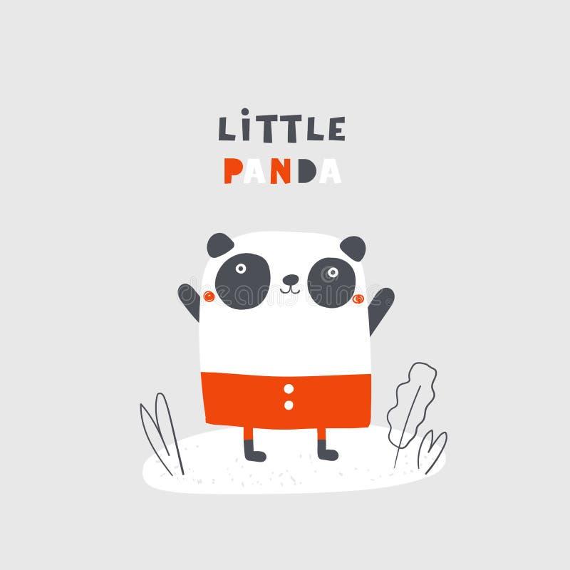 Mão bonito panda tirada da garatuja com rotulação de citações ilustração royalty free