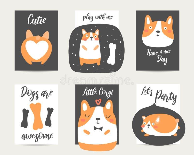 Mão bonito stylecards tirados do anime, folhetos, convites com cão do corgi ilustração do vetor