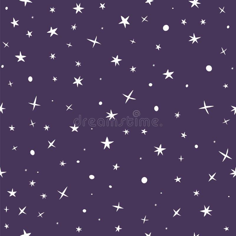 Mão bonito teste padrão sem emenda tirado com céu noturno e estrelas ilustração stock