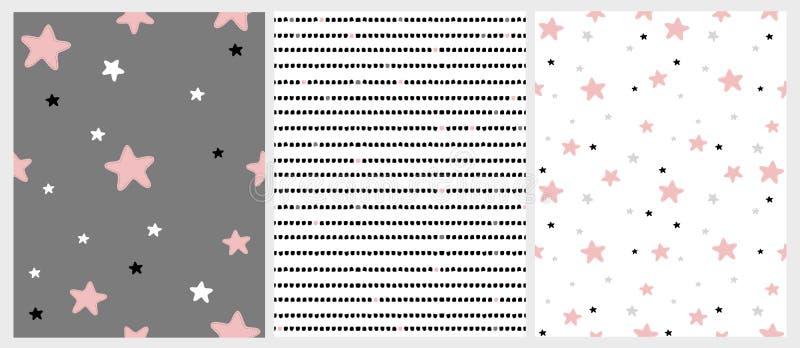 Mão bonito testes padrões irregulares tirados do vetor da bandeira dos Estados Unidos Gray Stars do rosa, o preto, o branco e o c ilustração stock
