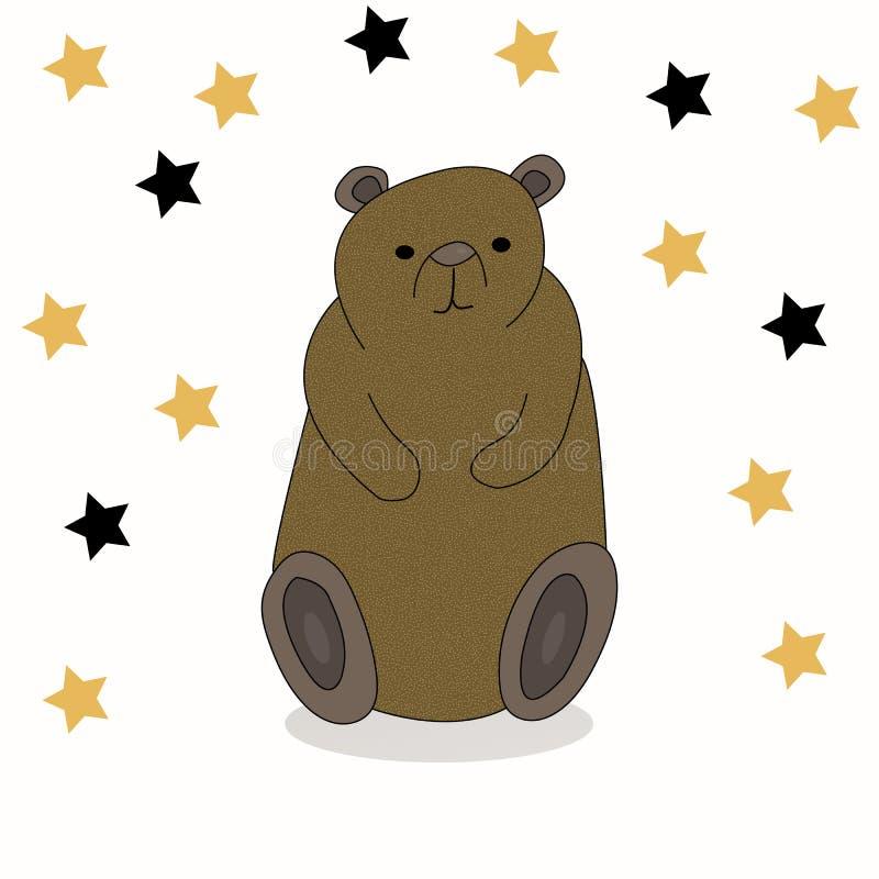 Mão bonito urso tirado dos desenhos animados ilustração do vetor