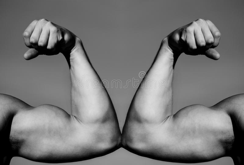 Mão, braço do homem, mão muscular do punho contra a mão forte Competição, comparação da força CONTRA Luta duramente Conceito da s foto de stock