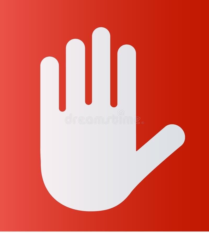 Mão branca da silhueta da ilustração do vetor isolada no fundo vermelho Pare o ícone do sinal ou do símbolo ilustração do vetor