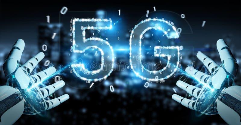 Mão branca do cyborg usando a rendição digital do holograma 3D da rede 5G ilustração royalty free