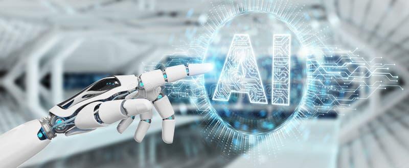 Mão branca do humanoid usando o ícone digital h da inteligência artificial ilustração royalty free