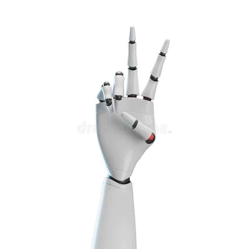 Mão branca do robô, fundo branco ilustração royalty free