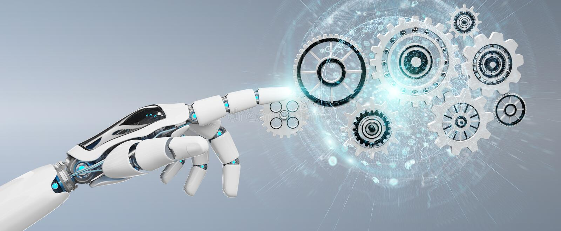 Mão branca do robô do humanoid usando a rendição digital das engrenagens 3D ilustração stock