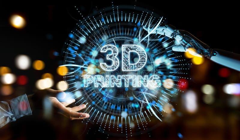 Mão branca do robô usando 3D que imprime a rendição digital do holograma 3D ilustração stock