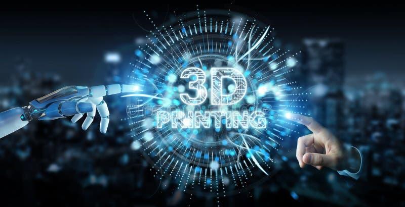 Mão branca do robô usando 3D que imprime a rendição digital do holograma 3D ilustração do vetor