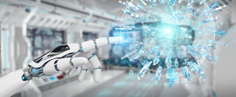 A mão branca do robô usando o globo digital para conectar os povos 3D rende ilustração do vetor