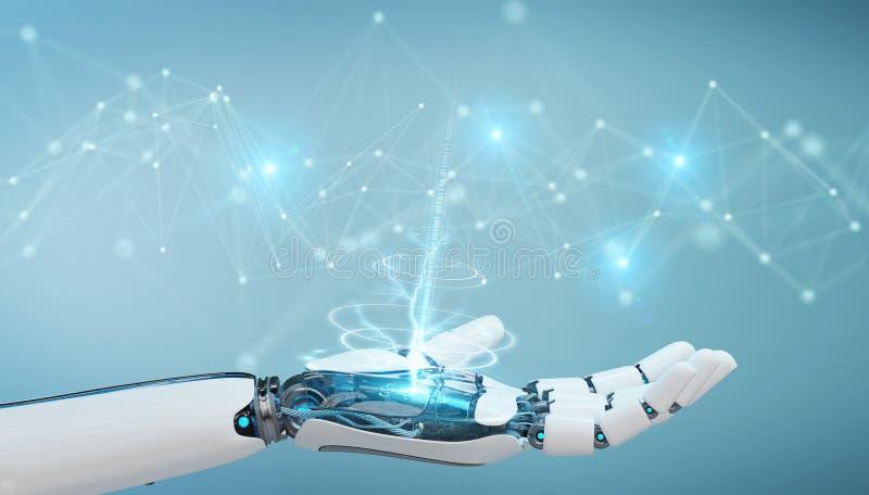Mão branca do robô usando a rendição da conexão de rede digital 3D ilustração royalty free