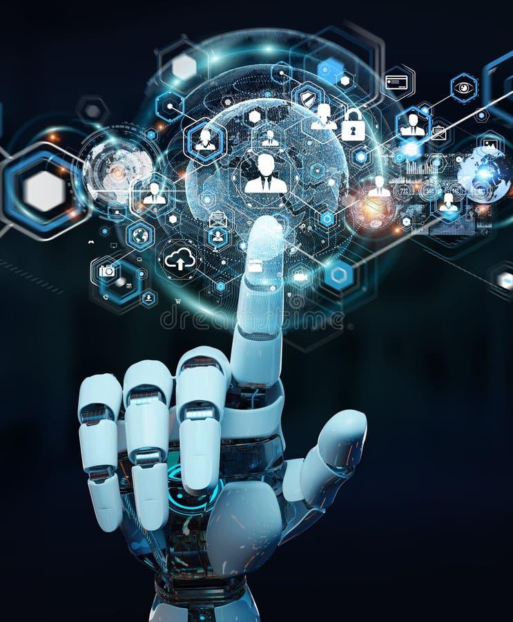 Mão branca do robô usando a rendição digital da relação 3D da tela ilustração stock