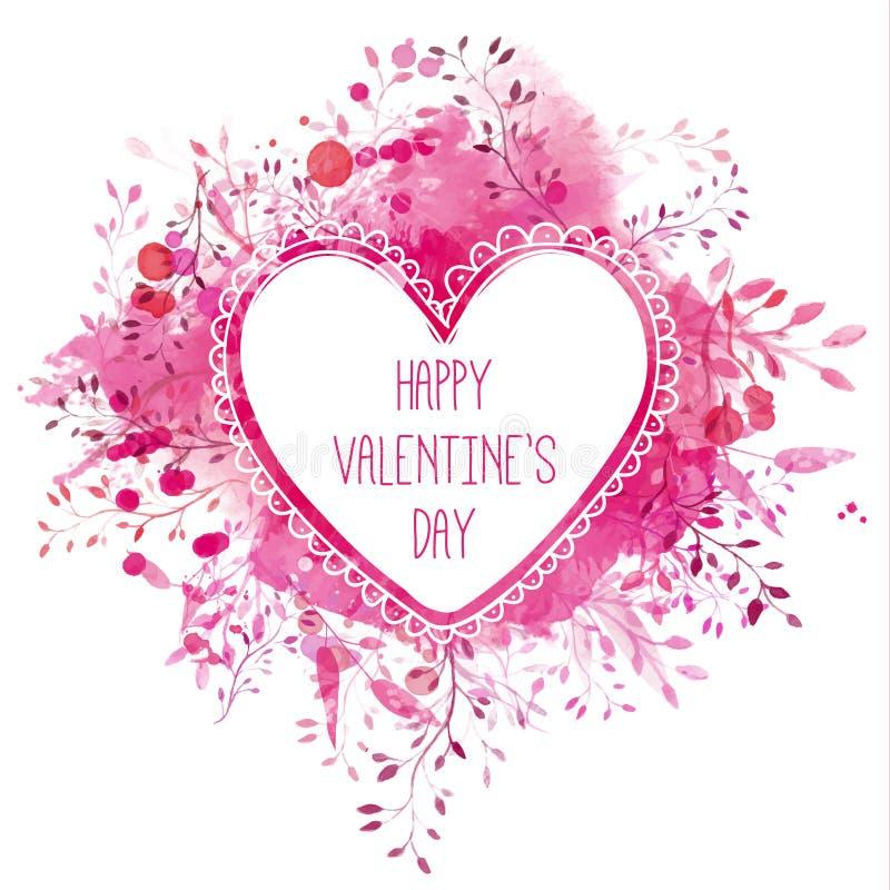 Mão branca quadro tirado do coração com dia de Valentim feliz do texto Fundo cor-de-rosa do respingo da aquarela com ramos Engodo ilustração do vetor