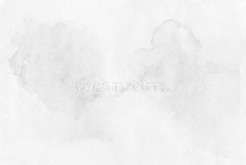 a mão Branco-cinzenta pinta o fundo molhado colorido da aquarela no pap imagens de stock