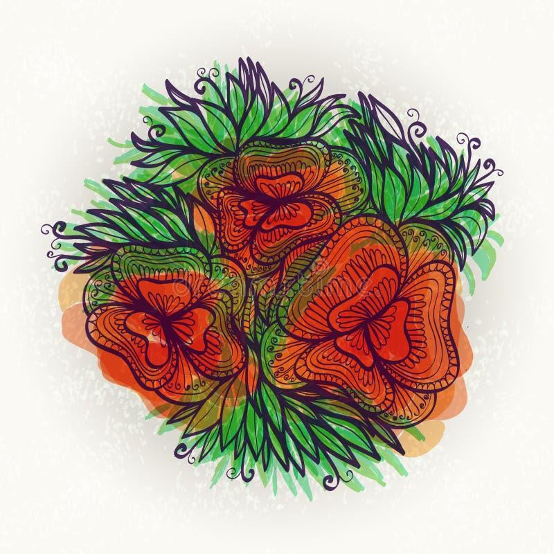 Mão brilhante flor tirada ilustração do vetor