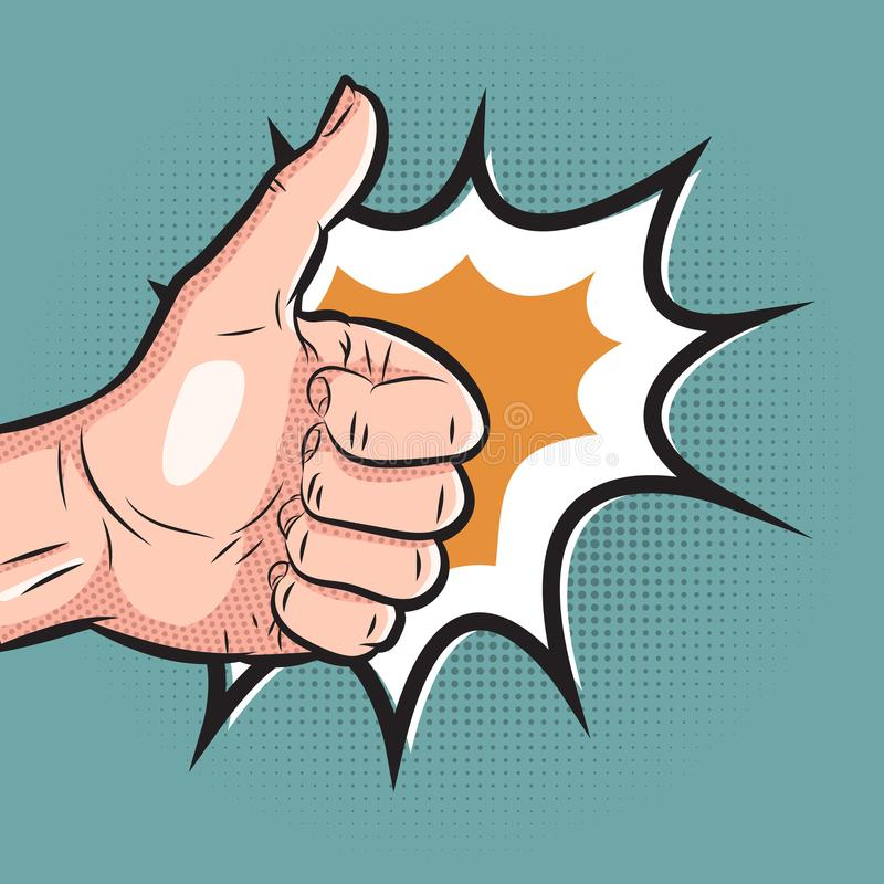 Mão cômica que mostra o polegar acima do gesto o pop art gosta do sinal no fundo de intervalo mínimo ilustração royalty free
