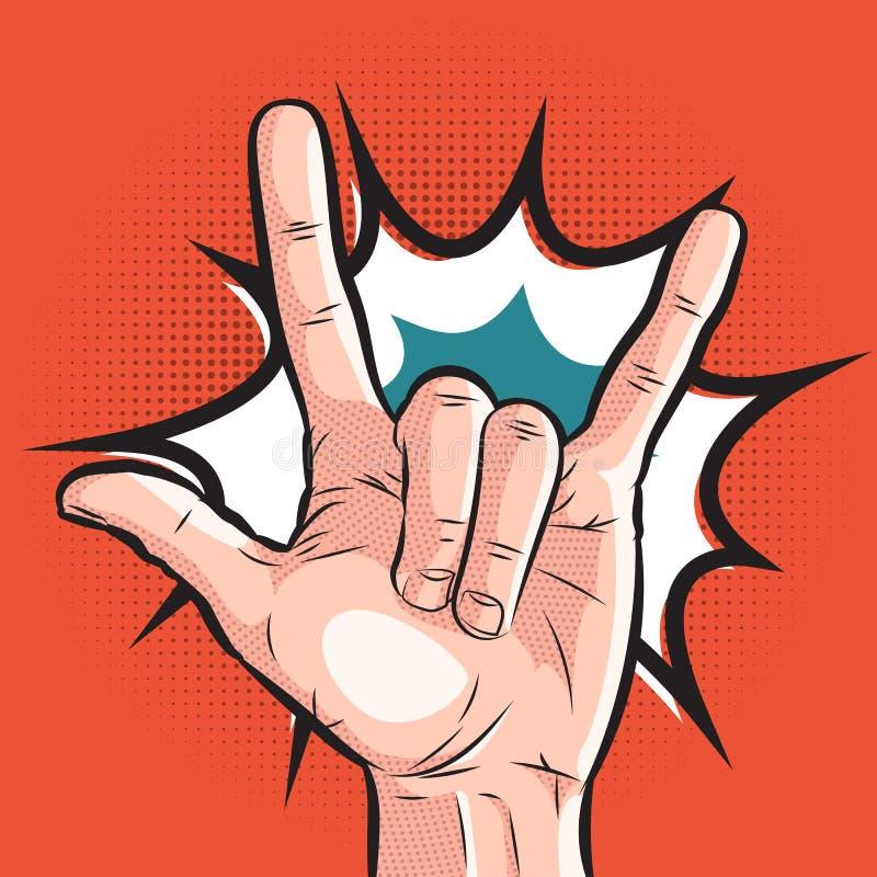 Mão cômica que mostra o sinal dos chifres gesto da rocha do pop art no fundo de intervalo mínimo ilustração royalty free