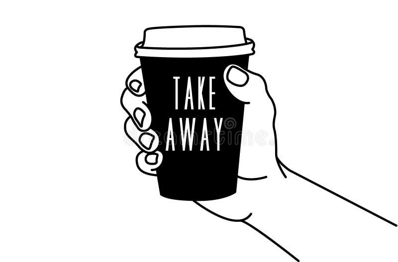 Mão & café ilustração stock