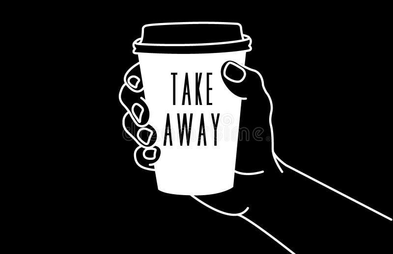 Mão & café ilustração royalty free