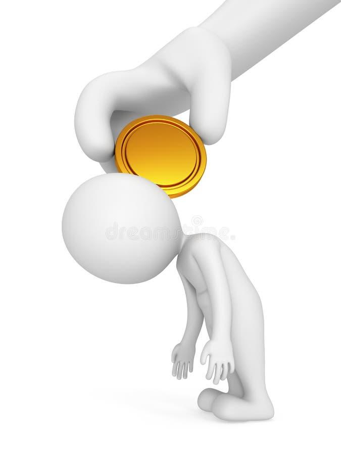 Mão cansado do homem 3d e do chefe com moeda ilustração do vetor