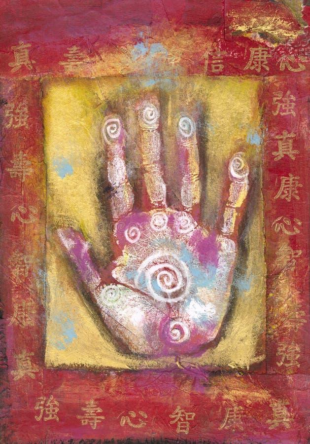 Mão chinesa da energia ilustração do vetor