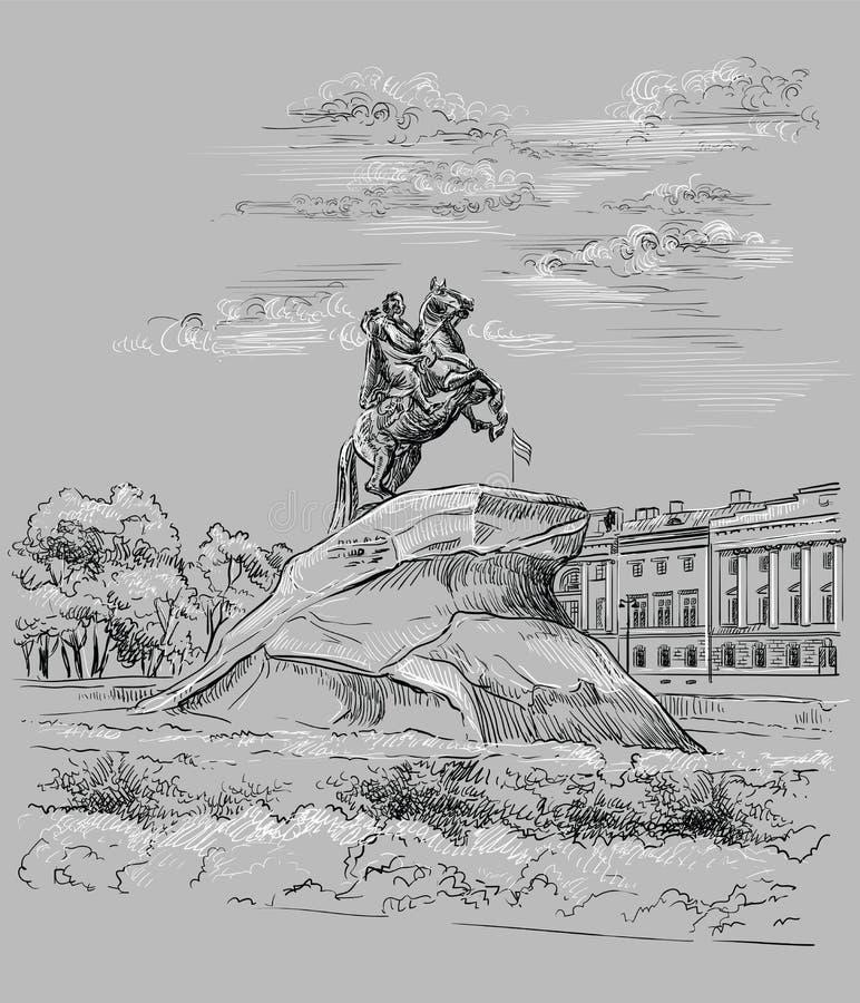 Mão cinzenta do vetor que tira St Petersburg 3 ilustração royalty free