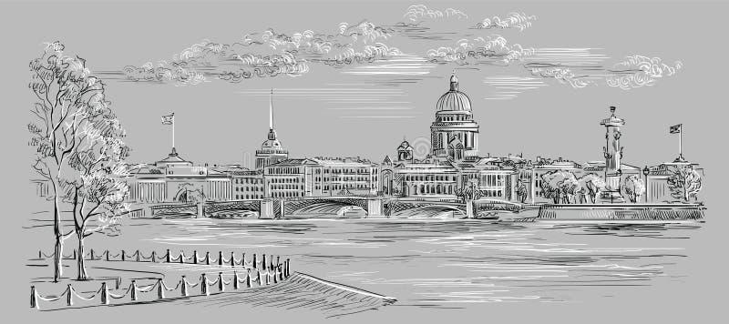Mão cinzenta do vetor que tira St Petersburg 8 ilustração stock
