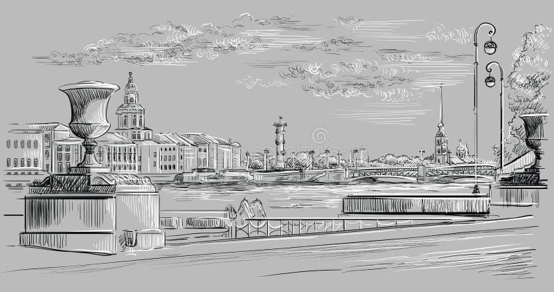 Mão cinzenta do vetor que tira St Petersburg 10 ilustração royalty free